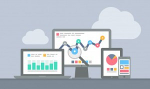 Website and mobile analytics concept showing digital effectiveness